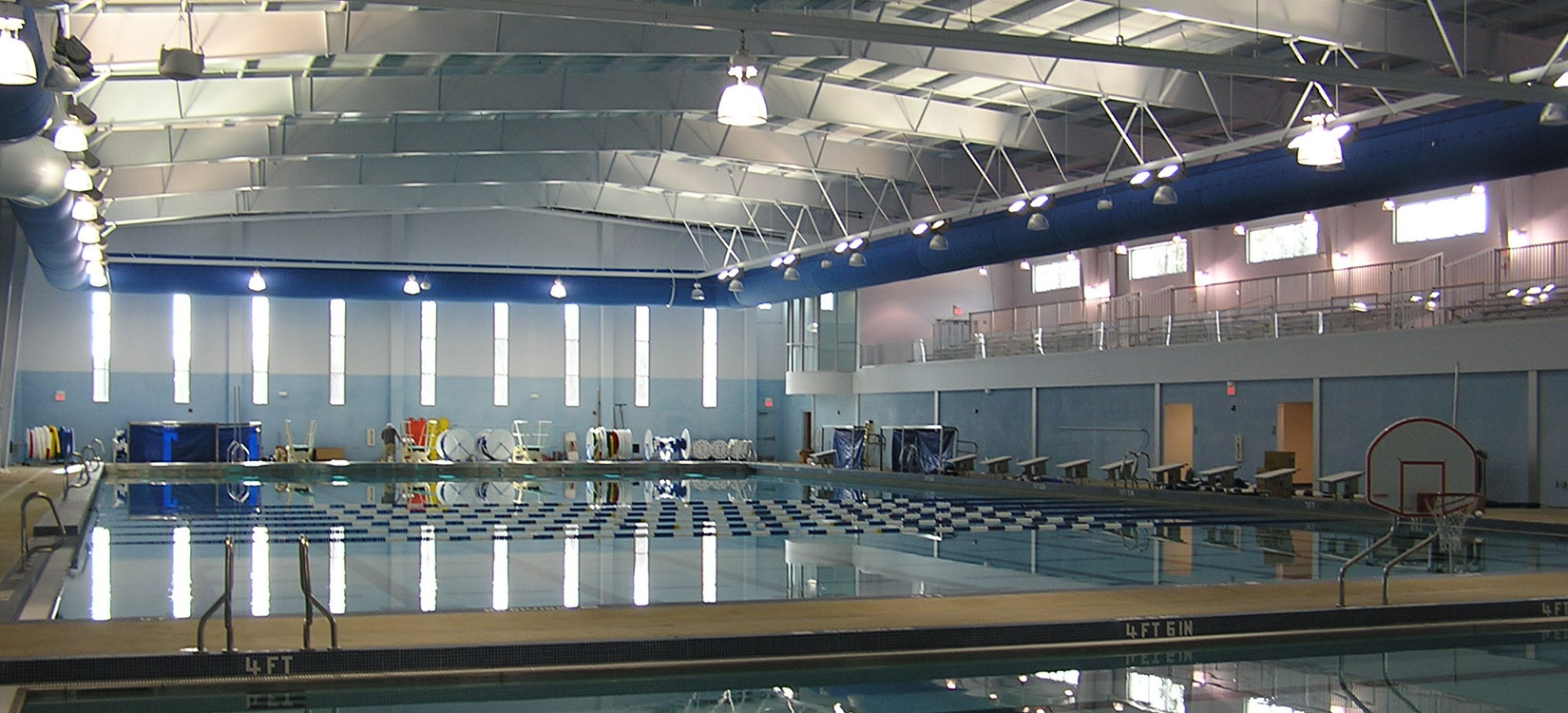 Image of Aquatic Center just outside of Atlanta GA, a pre-engineered metal building by Nucor Building Systems with a metal roofing system that was subcontracted to Fox Building Company for furnish and erect.